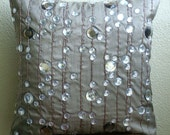 Diamond Strings - Pillow Sham Covers - 24x24 Inches Silk Pillow Sham Cover with Crystals and Bead Embroidery