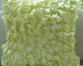 Vintage Lemons - Euro Sham Covers - 26x26 Inches Satin Euro Sham Cover in Yellow Satin Ruffles