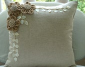 """Ecru Throw Pillows Cover For Couch, 16""""x16"""" Square Cotton Linen Pillows Covers For Couch - Jute Blooms"""
