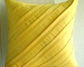 "Handmade Yellow Throw Pillow Covers, 16""x16"" Faux Suede Pillowcase, Square  Textured Pintucks Solid Color Pillow Covers -Contemporary Yellow"