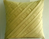 Contemporary Maple Butter - Throw Pillow Covers - 16x16 Inches Suede Pillow Cover in dull Maple Yellow