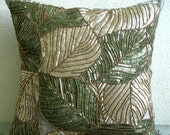Decorative Throw Pillow Covers Accent Pillows Couch Pillows 16 Inch Silk Pillow Cover Sequin Embroidered - Green Camouflage