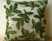 Throw Pillow Covers 16 Inch Ribbon Embroidered Accent Pillow Olive Green Leaf Decorative Pillow Couch Sofa Toss Bed Pillow Home Leafy Days