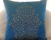 Damask Royal Blue - Euro Sham Covers - 26x26 Inches Euro Sham Cover with Damask Embroidery