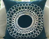 Teal N Silver Discs - Throw Pillow Covers - 20x20 Inches Silk Pillow Cover with Sequin Ring Embrodiery
