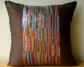 Decorative Throw Pillow Covers Accent Pillow Couch Sofa Pillow 16x16 Brown Silk Pillow Cover Sequins Embroidered Housewares Streaks of Color