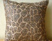 """Luxury Beige Cushion Covers, 16""""x16"""" Silk Throw Pillows Cover, Square  Leopard Sequins Pillows Cover - Leopard Spots"""