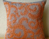 Decorative Throw Pillow Covers Couch Sofa Bed Toss 16x16 Inches Orange Silk Throw Pillow Dupioni Embroidered with Beads Orange Whirlwind