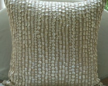 Purely Pearls - Pillow Sham Covers - 24x24 Inches Cotton Linen Pillow Sham Cover with Mother Of Pearl