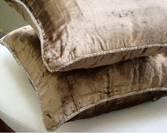 """Designer Light Brown Throw Pillows Cover, 16""""x16"""" Velvet Throw Pillows Cover, Square  Solid Color Beaded Cord Pillows Cover - Choco Shimmer"""