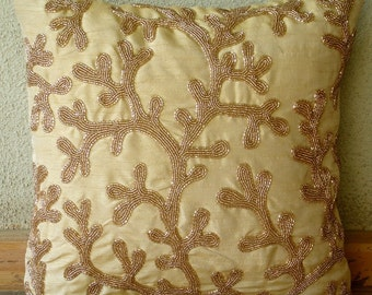 Decorative Throw Pillow Covers Accent Pillows 16x16 Inch Silk Pillow Cover Gold Beads Embroidered Coral Shine Home Living Decor Housewares