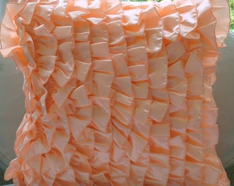 "Peach Pillow Covers,  Square  Vintage Style Ruffles Shabby Chic 16""x16"" Satin Pillow Covers - Vintage Peach Sorbet"