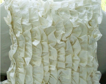 "Designer  Ivory Pillow Covers, Vintage Style Ruffles Shabby Chic Pillows Cover Square  18""x18"" Satin Throw Pillows Cover - Vintage"