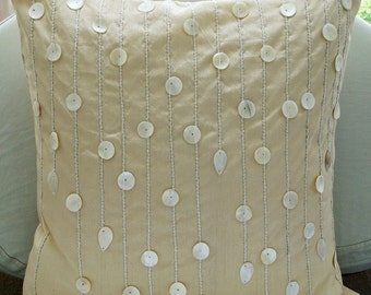Ivory Pearls - Pillow Sham Covers - 24x24 Inches Silk Pillow Sham Cover with Mother of Pearl Embroidery