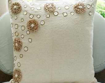 """Handmade  Ecru Throw Pillows Cover, Jute Flowers Pearls Floral Theme Pillows Cover Square  18""""x18"""" Cotton Pillows Cover - Jute Flowers"""