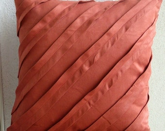"""Luxury  Rust Pillow Cases, Textured Pintucks Solid Color Pillows Cover Square  18""""x18"""" Faux Suede Pillow Covers - Contemporary Rust"""