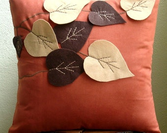 Spring Leaves - Pillow Sham Covers - 24x24 Inches Suede Pillow Sham Cover with Felt Embroidery