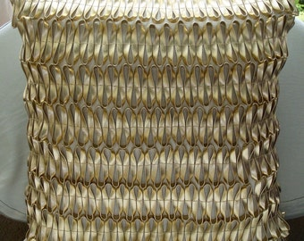Gold of The Gods - Throw Pillow Covers - 20x20 Inches Silk Pillow Cover with 3D Leather Tape