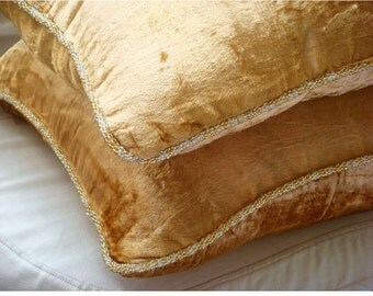 Gold Shimmer - Pillow Sham Covers - 24x24 Inches Square Pillow Sham Cover in velvet with handmade bead border