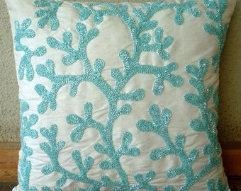 """Luxury  Aqua Blue Throw Pillows Cover, Sea Weeds Beach And Ocean Theme Pillows Cover Square  18""""x18"""" Silk Pillow Covers - Sea Weeds"""