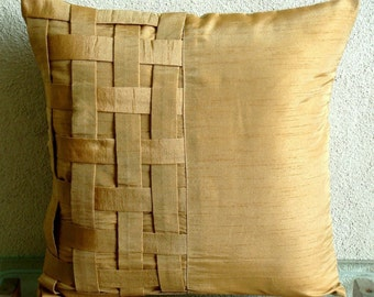 "Handmade Gold Decorative Pillow Cover, 16""x16"" Silk Pillowcase, Square  Basket Weave Pintucks Pillows Cover - Gold Brown Bricks"