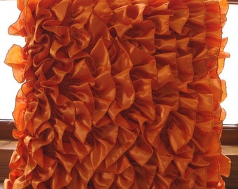 Vintage Orange - Pillow Sham Covers - 24x24 Inches Satin Pillow Cover in Orange with Satin Ruffles