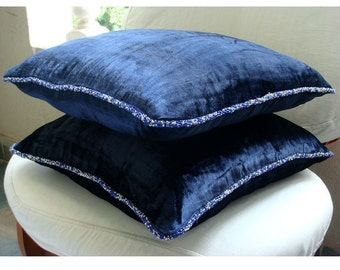 """Designer  Navy Blue Throw Pillows Cover For Couch, Solid Color Beaded Cord Decorative Pillows Cover Square  18""""x18"""" Velvet - Navy Shimmer"""