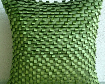 Go Green - Euro Sham Covers - 26x26 Inches Suede Euro Sham Cover with Pintucks and Satin Ribbon