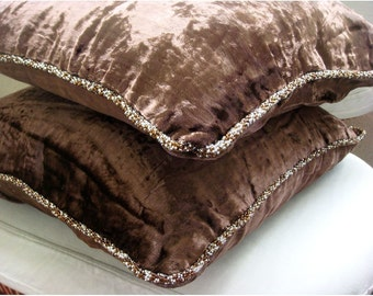 """Dark Brown Decorative Pillows Cover,  Square  Solid Color Beaded Cord 16""""x16"""" Velvet Pillow Covers - Dark Chocolate Shimmer"""