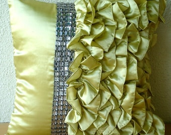 "Handmade  Lime Green Pillow Cases, Vintage Style Ruffles With Crystals Shabby Chic Throw Pillows Cover 18""x18"" Satin - Diamonds N Ruffles"