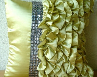 """Handmade  Lime Green Pillow Cases, Vintage Style Ruffles With Crystals Shabby Chic Throw Pillows Cover 18""""x18"""" Satin - Diamonds N Ruffles"""