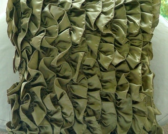 Vintage Olives - Pillow Sham Covers - 24x24 Inches Satin Pillow Sham Cover with Satin Olive Ruffles