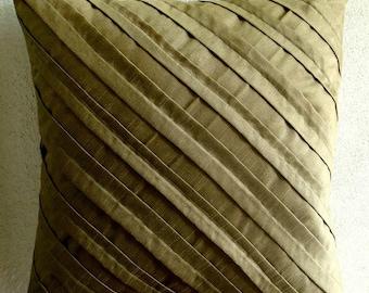 Earthy Affair - Pillow Sham Covers - 24x24 Inches Silk Pillow Sham Cover with Pintucks