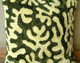 Coral Greens - Euro Sham Covers - 26x26 Inches Silk Euro Sham Cover with Satin Ribbon Embroidery