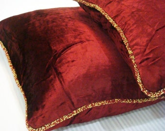 "Luxury Maroon Pillows Cover, 16""x16"" Velvet Pillows Cover, Square  Solid Color Beaded Cord Pillow Cases - Maroon Shimmer"