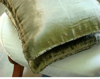 Decorative Throw Pillow Covers Accent Pillow Couch Pillow Bed Pillow Sofa Pillow 20x20 Olive Velvet Pillow Case with Bead Cord Olive Shimmer