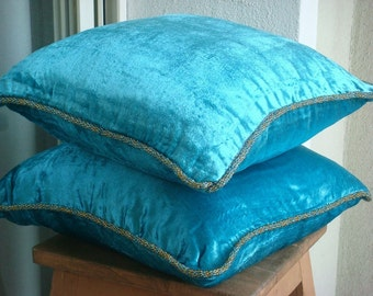 """Luxury Turquoise Blue Pillow Cases, Solid Color Beaded Cord Pillow Cases Square  18""""x18"""" Velvet Throw Pillows Cover - Turquoise Shimmer"""