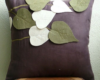 Olive Leafy Day - Pillow Sham Covers - 24x24 Inches Suede Pilllow Sham Cover with Felt Embroidery