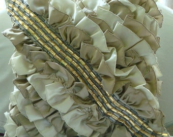 Vintage Caramel  - Euro Sham Covers - 26x26 Inches Satin Euro Sham cover with Ruffles and Crystals