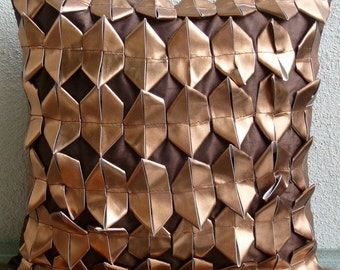 "Designer  Rust Throw Pillows Cover, 3D Metallic Throw Pillows Cover Square  18""x18"" Faux Leather Pillow Covers - Copper Age"