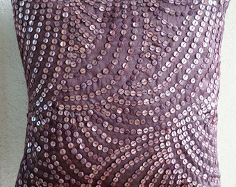 """Handmade Purple Pillow Covers, 16""""x16"""" Silk Pillows Covers For Couch, Square  Mother Of Pearls Pillow Cover - Creeping Vines"""