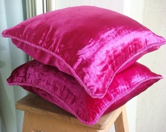 """Designer  Fuchsia Pink Accent Pillows, Solid Color Beaded Cord Pillow Covers Square  18""""x18"""" Velvet Pillowcase - Fuchsia Love"""