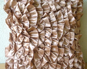 Vintage Peach - Pillow Sham Covers - 24x24 Inches Satin Pillow Sham Cover with Ruffles