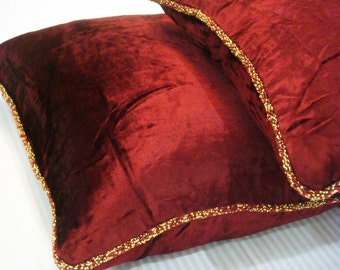 Decorative Throw Pillow Covers Accent Pillow Couch Pillow Bed Toss Pillow Sofa Pillow 20x20 Velvet Pillow Case with Bead Cord Maroon Shimmer