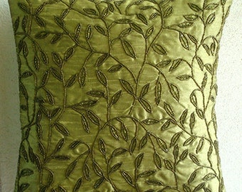 "Luxury Green Pillow Covers, 16""x16"" Silk Pillows Covers For Couch, Square  Beaded Leaf Tropical Theme Pillows Cover - Tropical"