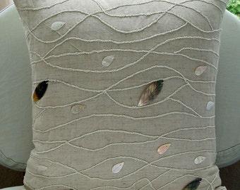 "Designer Ecru Decorative Pillow Cover, Vintage Style Mother Of Pearls Pillows Cover 18""x18"" Cotton Linen Pillow Covers - Vintage Season"