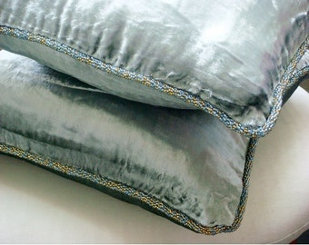 """Luxury Silver Pillow Cases, 16""""x16"""" Velvet Pillowcase, Square  Solid Color Beaded Cord Throw Pillows Cover - Silver Shimmer"""