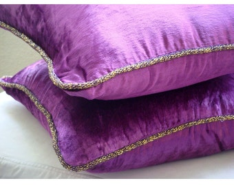Decorative Throw Pillow Covers Accent Pillow Couch Pillows Bed Sofa Pillows 16x16 Purple Velvet Pillow Case with Bead Cord Purple Shimmer