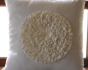 "Luxury White Pillow Cases, 16""x16"" Faux Suede Pillows Cover, Square  Vintage Style Frills Medallion Pillows Cover - Vintage Bloom"