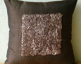 "Designer Brown Throw Pillow Covers, 16""x16"" Silk Pillowcase, Square  Textured Ribbon Centered Throw Pillows Cover - Vintage Chocolate Love"